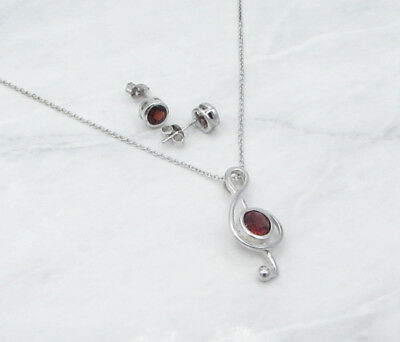 925 Silver - AUTHENTIC VICTORIA TOWNSEND Red Garnet Necklace & Earrings Set 6g