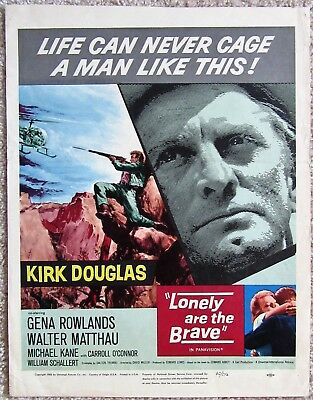 Lonely Are The Brave Original 1962 Wc Movie Poster Folded Kirk Douglas Vg