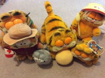 Vintage Garfield Plush Lot Pasta Money Bank Mountie Nermal