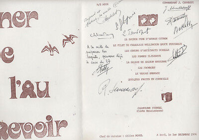 échecs chess souvenir menu croisiere 1976 autographs signed GLIGORIC O'KELLY etc