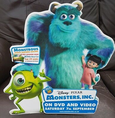 Monsters Inc video advertising counter standee