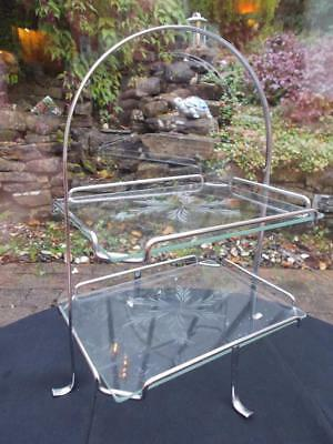 Art Deco 1930S Chrome Glass 2 Tier Cake Stand Etched Glass Decoration Cupcakes