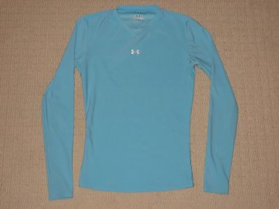 Womens Under Armour Base Layer Compression Long Sleeve LS Shirt Small SM Blue