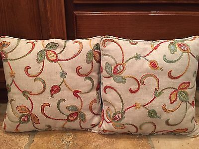 Two vintage crewel upholstery pillows