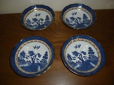 """Booths Real Old Willow 6"""" Fruit / Dessert Bowl X 4   A 8025"""