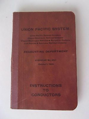 1926 Union Pacific System Railroad Instructions to Conductors - Oregon RR