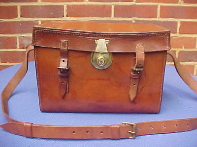 Vintage Hardy Leather  Fly Fishing Tackle Box Cartridge Case & Shoulder Strap