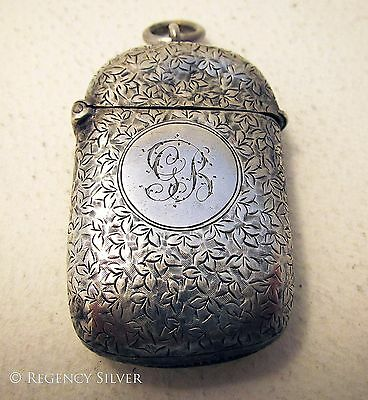 Victorian OVAL Antique Sterling Silver English Hallmark Vesta Match Striker Case