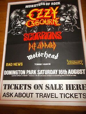 Monsters Of Rock Poster Ozzy Osbourne/scorpions Ect