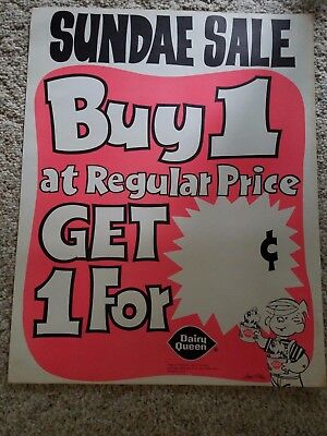 VINTAGE 1975 Dennis the Menace Sundae Sale Dairy Queen Poster