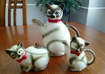 3 Piece Set Kasuga Ware Japan Porcelain  Siamese Cat Teapot Sugar Creamer