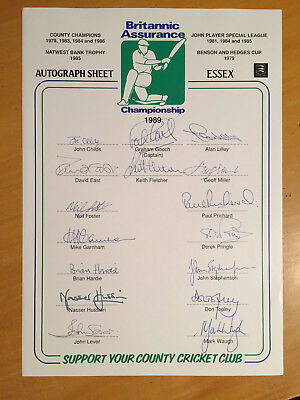 1989 Essex CCC Signed by all 16 Players on Official Team Sheet inc M Waugh Gooch
