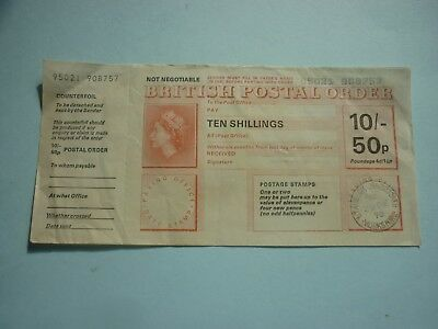 Gt Britain - Ten Shillings/50 Pence Dual Currency Postal Order Issued Dec 1970