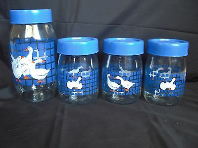 Set of 4 Carlton Glass Geese/ducks Canisters with blue lids (1,2 L, 3,1 L)