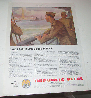 1943 original ad Republic Steel Soldiers Coming Home See Statue of Liberty
