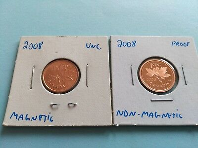 Lot of 2 Different 2008 pennies, Featuring the Rare Non Magnetic Proof!