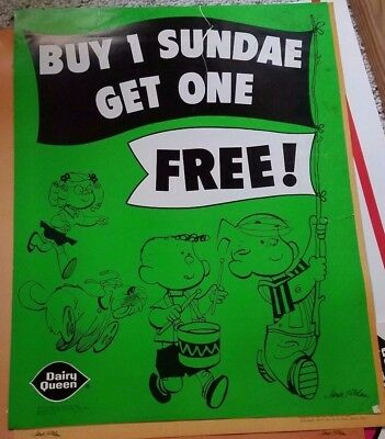 VINTAGE 1973 Dennis the Menace Dairy Queen Poster