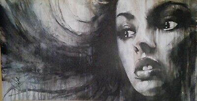 """Oil and acrylic painting ORIGINAL CANVAS Portrait By L Dolan 44"""" x 23"""""""