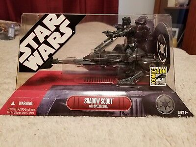 STAR WARS: COMIC CON Exclusive Shadow Scout with Speeder Bike NIB MISB