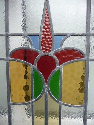 2 Vintage Victorian/ Art Deco leaded stained glass windows floral pattern panels
