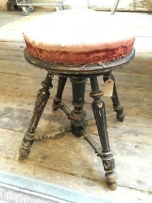 Old French stool with adjustable height seat