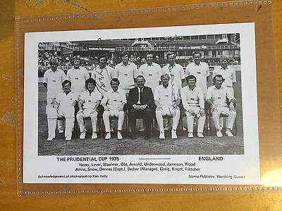 1975 England Prudential Cup team photo signed by Woolmer & Underwood