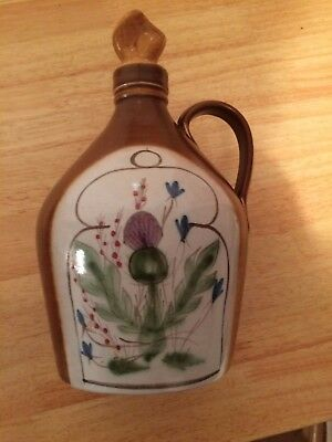 Vintage Buchan Pottery Stoneware whiskey Decanter Large thistle with stopper