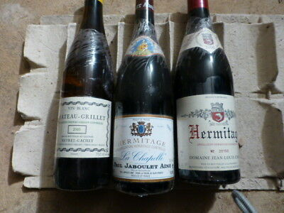 Grands flacons rhone nord : hermitage chave, chateau grillet... -  3 bouteilles
