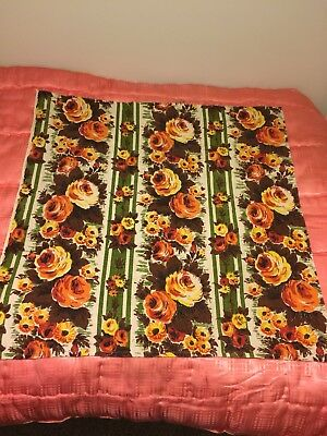 Vintage Barkcloth Rose Fabric Fab Colours 77 X 77cm Sewing Crafts