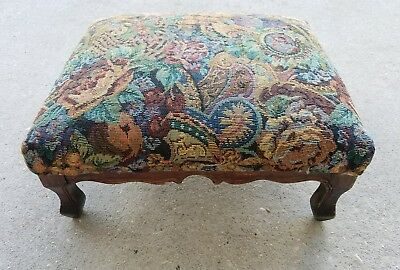 Vintage Foot Stool with Tapestry Cover