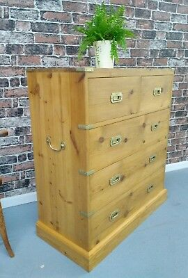 Vintage solid pine campaign style chest of drawers