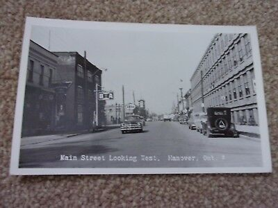 Vintage Photographic Postcard. Main St . Looking West, Hanover, Ontario, Canada