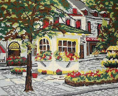 """Place Jacques Cartier, Montreal , vintage completed needlepoint 20"""" x 16"""""""
