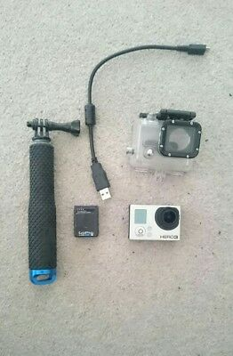 Gopro hero 3 with 32gb memory card, spare battery and selfie stick