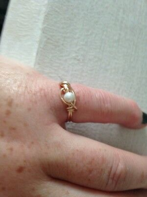 designer inspired yellow gold pl natural white pearl ring size o
