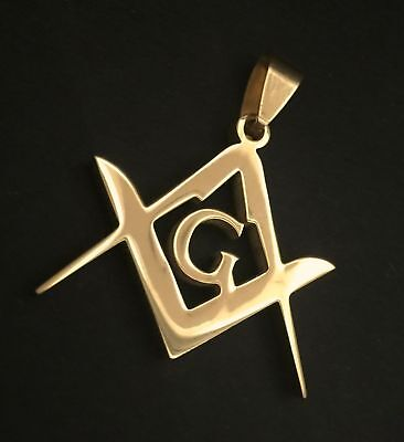 Gold Masonic Watch Chain Fob or Pendant Square and Compasses Freemason Fine
