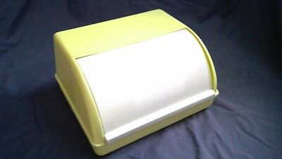 Jury Roll Top Yellow and White Bread Bin, vintage from 1950's/60's