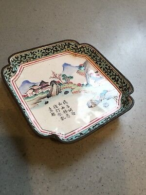 Antique Chinese Metal Hand Painted Enameled Trinket Dish Signed