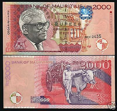 Mauritius 2000 Rupees P55 1999 Ramgolam Ox Rare Date Unc Africa Currency Note