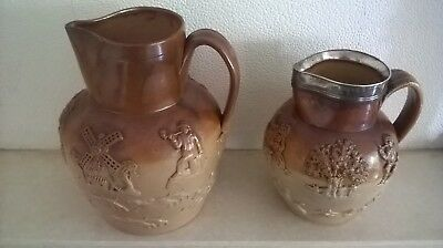 Two Antique Salt Glaze Stoneware Harvester? Jugs Circa 1890