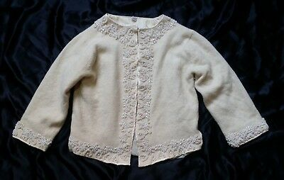 Vintage 1950s cream beaded cardigan sweater - shrunk in the wash so child's size