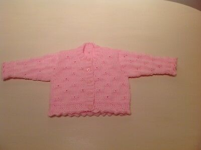 Baby girls hand knitted pink cardigan 0-3 months, brand new