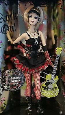 NRFB 2008 Hard Rock Cafe Gold Label Barbie Doll Exclusive Collector Pin & Guitar