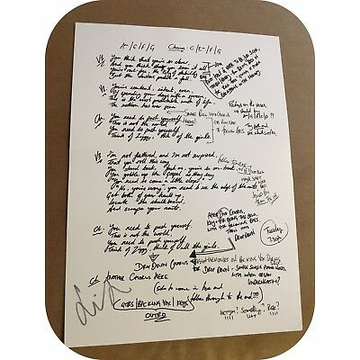 Brand New Courteeners Push Yourself Lyrics Signed By Liam Fray