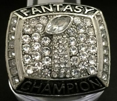FANTASY FOOTBALL 2017 Championship Ring Very Silver CZ Stones Trophy American