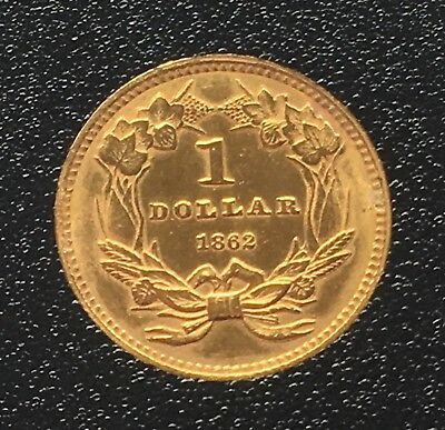 1862 US Indian Princess Gold One Dollar $1 Boxed