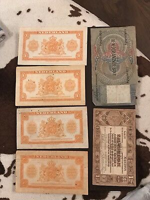 Netherlands Bank Notes x 6