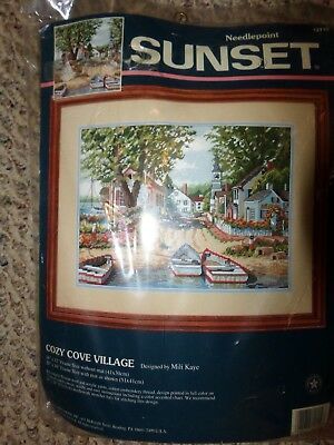 NIP 1996 Dimensions Needlepoint Sunset, Cozy Cove Village, #12119, Boats Ocean