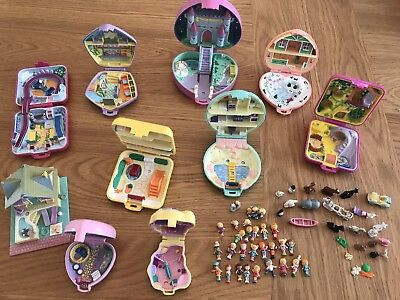 Polly Pocket - Collection Of 10 Sets With Figures Including Light Up Castle Set