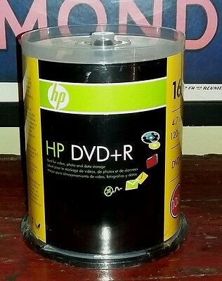 NEW HP DVD+R 16x 4.7 GB Data. 120 Min. Video 100 disc spindle pack